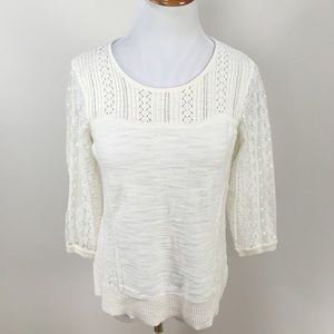 Anthro Knitted & Knotted Lace Sweater Sz Large